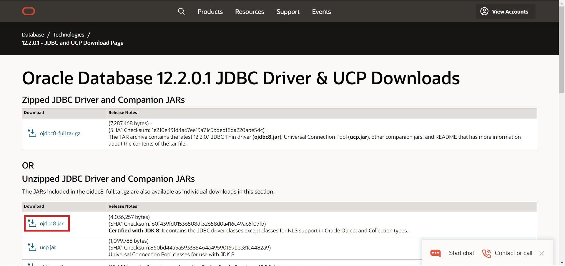 JDBCダウンロード画面